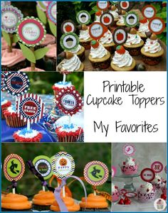 Free Printable Cupcake Toppers available from HoosierHomemade.com