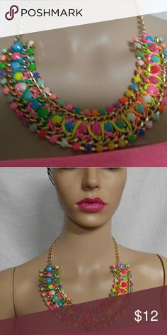 Color hot pink orange blue green bib necklace This is a brand new bib necklace with lots of color. Adjustable clasp Jewelry Necklaces