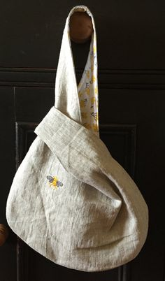 Natural Linen Japanse Knot Bag Napoleonic Bee by VirginiaWay. Inspiration no tutorial