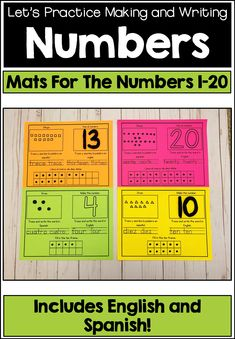 This Is A Great Way For Students To Practice Representing The Numbers Understudies Will Also Practice Writing The Word Form Of Each Number In Both English And Spanish. These Mats Can Be Laminated For Durability And Can Be Reused Multiple Times. Math Activities, Teacher Resources, Classroom Resources, Math Games, Teaching Math, Teaching Ideas, Math Math, Math Fractions, Creative Teaching
