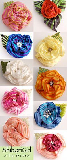Flowers made of Silk Shibori ribbon