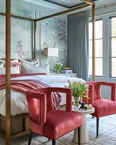 Awaken your inner artist. Get the swatch now at theshadestore.com. #LoveYourWindows // Design: Kathryn Lilly Interiors for the Interior Design Society Charlotte ​Designer Showhouse // Photo: Dustin Peck // #idscharlotteshowhouse Bedroom Windows, Window Curtains, Beautiful Bedrooms, Window Treatments, Blinds, Swatch, Shades, Interior Design, Sky Mountain
