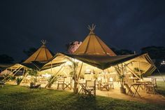 Glamping wedding with giant tipi tents.