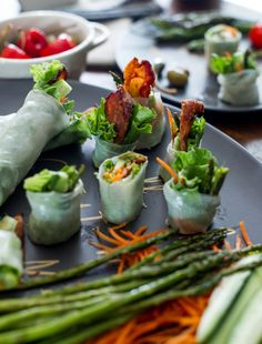 Roasted Asparagus + Bacon Spring Rolls by @Todd & Diane (White On Rice Couple)