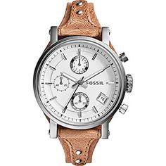 Fossil Womens ES3625 Original Boyfriend Chronograph Stainless Steel Watch with Beige Leather Band -- Check out this great product. Note: It's an affiliate link to Amazon
