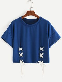 Blue+Dropped+Shoulder+Seam+Lace+Up+T-shirt+8.99