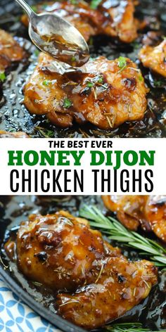 Honey Dijon Chicken Thighs make an amazing dinner that you ll want over and over again So juicy and flavorful and made with a sauce you ll want to drink chickenrecipes dinner chicken oneskillet honey easydinner Chicken Thights Recipes, Best Chicken Recipes, Yummy Recipes, Crockpot Recipes, Cooking Recipes, Healthy Recipes, Recipes Dinner, Kitchen Recipes, Healthy Chicken Thigh Recipes
