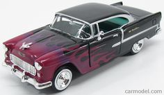MOTOR-MAX 76602 Scale 1/24  CHEVROLET BEL AIR CUSTOM HOT ROAD WITH FLAMES 1955…