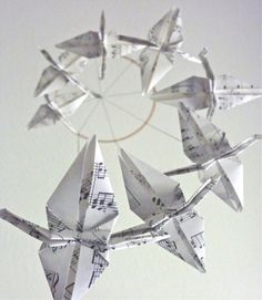 Origami Crane Mobile Baby Mobile Eco by SpareBedroomStudio on Etsy, $29.00