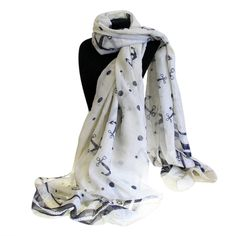 Wholesale Scarves Ancors And Dots - Extra Large Scarves #Scarves_Wholesale #Wholesale_Scarves #White_Scarves_Nautical