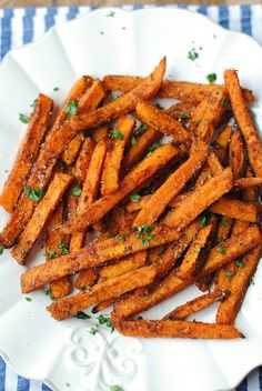 My FAVORITE recipe for Sweet and Spicy Sweet Potato Fries!  Healthy, delicious and full of flavor!
