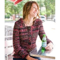 "Berme cardigan, free crochet pattern instructions from Berroco. Sizes up to 50"" bustline."