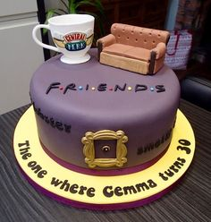 Friends tv show themed birthday cake