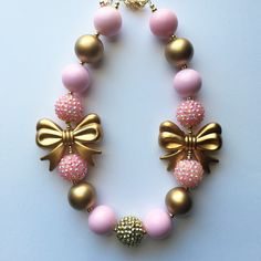 Pink And Gold Chunky Bubblegum Necklace by Baublesandbowstoo on Etsy https://www.etsy.com/listing/251979816/pink-and-gold-chunky-bubblegum-necklace