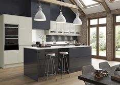 Modern, Contemporary, Strada Gloss Kitchen, in Porcelain and Graphite Kitchen Units, New Kitchen, Kitchen Ideas, Kitchen Designs, Kitchen Ranges, Grand Kitchen, Kitchen Island, Kitchen Appliances, Cream Gloss Kitchen