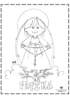 Cute coloring page for Our Lady of the Rosary. Perfect for October the month of the Rosary!!