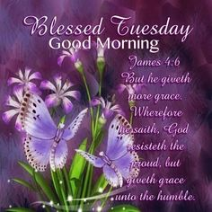 "BLESSED TUESDAY: James 4:6 (1611 KJV !!!!) "" But he giveth more grace. Wherefore he saith, God resisted the proud, but giveth grace unto the humble."" MAY OUR LORD BLESS YOU RICHLY !!!!"
