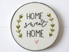 Home Sweet Home Art Vintage Embroidery Hoop Sign by cinderandhoney
