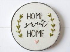 Home Sweet Home Art Vintage Embroidery Hoop Sign by cinderandhoney