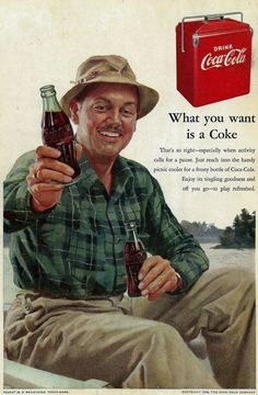 Vintage Coke Ad 1950's Fishing with by zippitydoodlepaper on Etsy, $6.00: