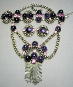 Very RARE Schiaparelli Purple Speckled Cab Pink Rhinestone Parure   eBay