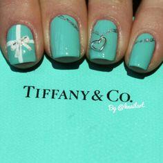 Very pretty.  #tiffanyblue #nails #chain #heart