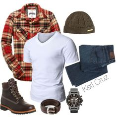Men's Winter Fashion by keri-cruz on Polyvore featuring Doublju, Superdry, Timberland, Polo Ralph Lauren, FOSSIL and Orciani
