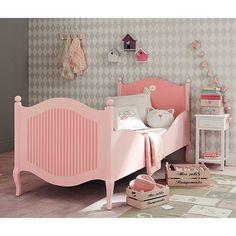lit enfant 90 x 190 cm en bois rose et blanc gourmandise maisons du monde