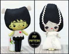 PDF Pattern. Halloween dolls with hats: Mexican skull, vintage pumpkin, candy…