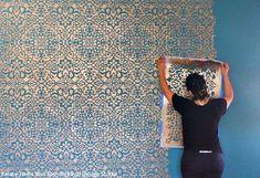 Wall Stencil Patterns, Stencil Designs, Paint Designs, Damask Wall Stencils, Large Wall Stencil, Diy Wallpaper, Custom Wallpaper, Wallpaper Designs For Walls, Moroccan Wallpaper