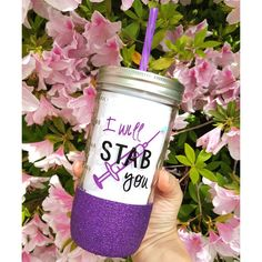 I Will Stab You Glitter Mason Jar Tumbler Nurse Cup Cup for Nurses ($20) ❤ liked on Polyvore featuring home, kitchen & dining, drinkware, black, drink & barware, home & living, tumblers & water glasses, personalized jars, black cup and personalized water cups