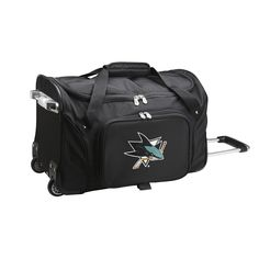Denco Sports San Jose Sharks and Polyester 22-inch Carry-on Rolling Duffel Bag