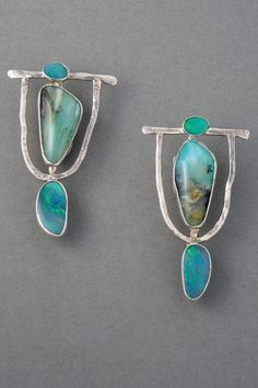 Hammered silver earrings, set with Australian and Peruvian opals.