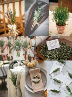 #Wedding #Floral Arrangements Using #Rosemary Mood Board from The Wedding Community