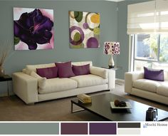 Sage green living room with rich purple. See website for color and accessory details.