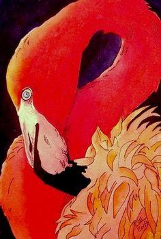 Hot Pink Flamingo Fine Art Print on Ebay by carolynnzart