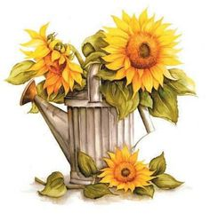 Decoupage + Photoshop & # s photos - 63 albums Art Floral, Sunflowers And Daisies, Illustration Blume, Sunflower Art, Sunflower Quotes, Sunflower Images, Decoupage Paper, Tole Painting, Watering Can