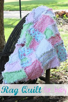 """Make It: Rag Quilt for Baby.  It's not the standard square only but has two square sizes and a rectangle. The piece sizes are 9"""" and 5.5"""" with a full 1"""" seam allowance.  Note that I think the sizes on the batting should be 3 1/2"""" not 3""""."""