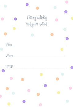 Dotted Birthday Invitation Printable Customize Add Text And Photos Print