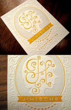 Classical Two Coloured Textured Letterpress Business Card For A Designer