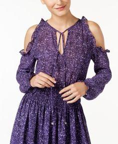 Michael Michael Kors Cold-Shoulder Dress - Purple XS