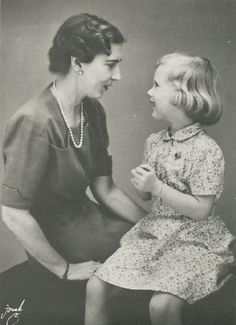 HM Queen Ingrid of Denmark with her eldest daughter, Princess Margarethe