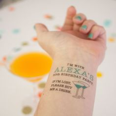 30th Birthday Party Custom Temporary Tattoos, If Lost, Buy Me a Drink Tattoo, Pack of 15 Personalized Tattoo Party Favors