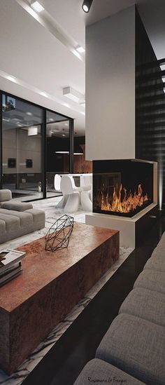 "This modern fireplace would be perfect for in our ""Asher"", on a cold night. Risingbarn.com"