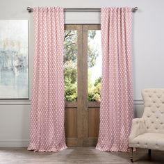 84 Inch Pink Color Geometric Girls Curtains Panel Pair Set Light Beige Background Allover Pattern Window Curtain Kids Themed Blackout Drape Back Tab