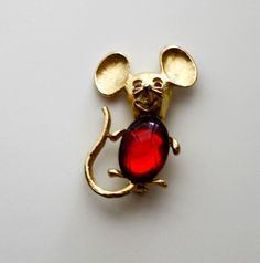 Vintage Mouse Brooch Red Jelly Belly Cabochon Rhinestone Eyes Smiling Mouse by TempleKatVintage on Etsy