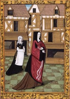 Louise dans la rue suivie de sa servante portant livre et chapelet (f°8r) -- Histoire de Jean III de Brosse et de sa femme Louise de Laval [Ms 388], Tours (France), 1475.