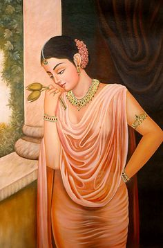 Lonely Lady on Terrace (Virahini Nayika) with Two Lotus Buds Symbolizing the Couple, Oils Oil on Canvas Sexy Painting, India Painting, Woman Painting, Lotus Painting, Painting Tips, Painting Art, Indian Women Painting, Indian Art Paintings, Indian Artwork