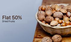 Up To 50% Off On Dry Fruits at Get-Grocery Grocery Coupons, Online Coupons, Dried Fruit, Coupon Codes, Almond, Breakfast, Food, Morning Coffee, Essen