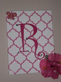 Nouveau Initial  9 x 12 Painted Canvas by DesignCo805 on Etsy, $30.00